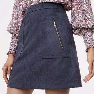 Navy Faux Suede skirt